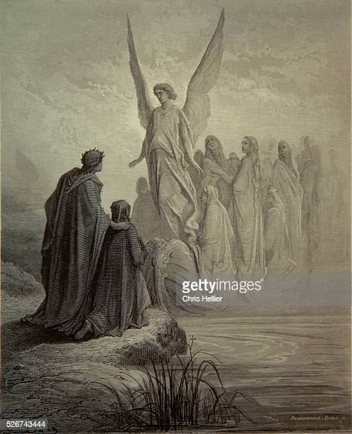 An engraving by the French printmaker Gustave Dore of The Boat of Souls, a scene from Dante's Purgatory.