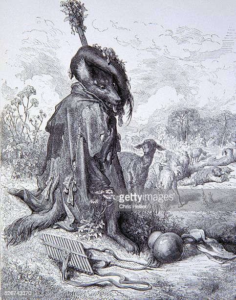 An engraving by the French printmaker Gustave Dore of The Wolf Turned Shepherd a scene from the 1867 edition of Fontaine's Fables