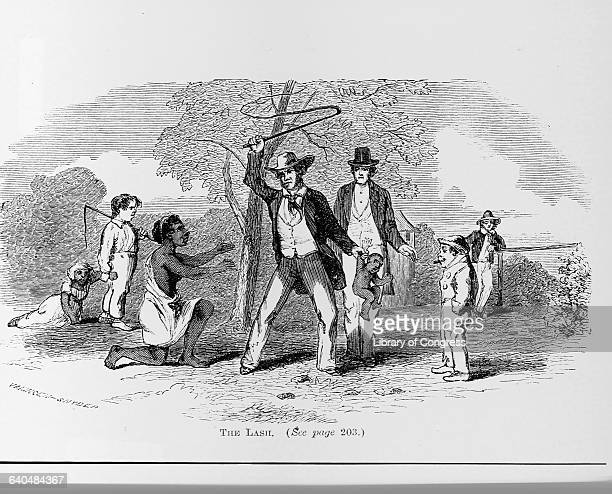 An engraving by VaningenSnyder from The Suppressed Book About Slavery published in 1864 entitled The Lash depicts an African American woman kneeling...