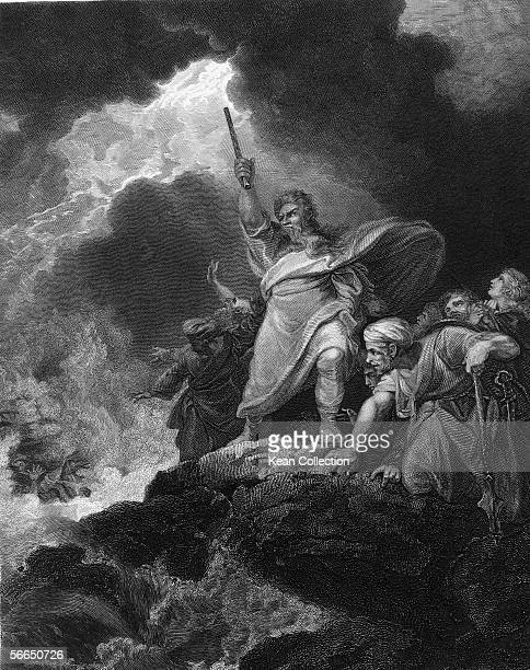 An engraving circa 1840 entitled 'The Destruction Of Pharoah's Host' showing a scene from the Bible where Moses commands the Red Sea to return and...
