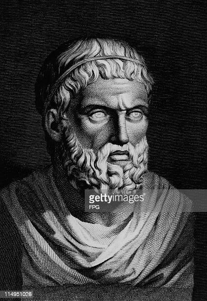 An engraving, circa 1850, of a bust of ancient Greek playwright Sophocles .