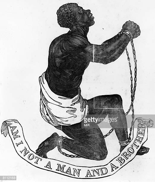 A slave in chains expressing the inhumanity of slavery with the words 'Am I not a man and a brother'