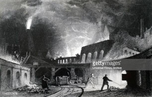 An engraving depicting a bank of furnaces Lymington Iron Works Tyneside Illustrated by Thomas Allom Dated 19th century