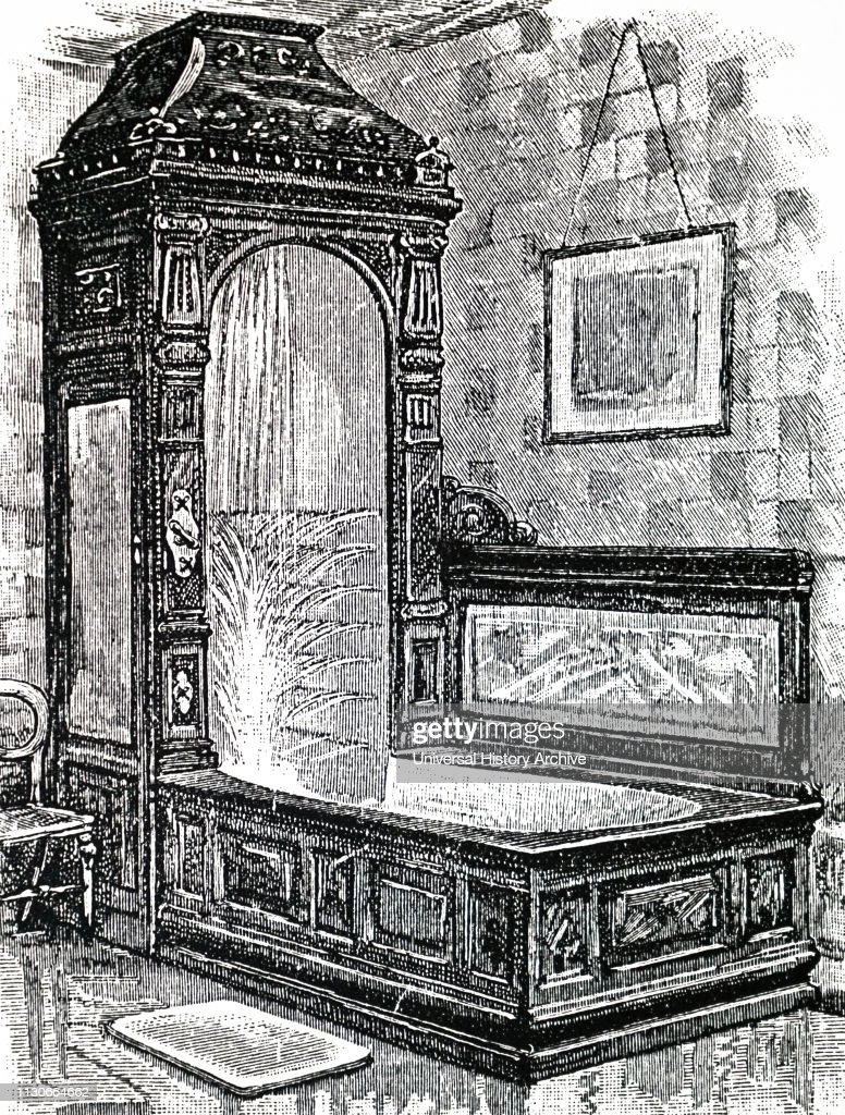 An Engraving Depicting A Bedroom Washbasin And Ewer The