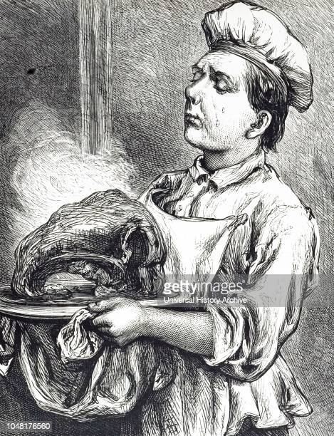 An engraving depicting a cook carrying a dish of roast ribs of beef Dated 20th century