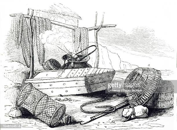 An engraving depicting a crabpot lobster pot and wellbox Dated 19th century