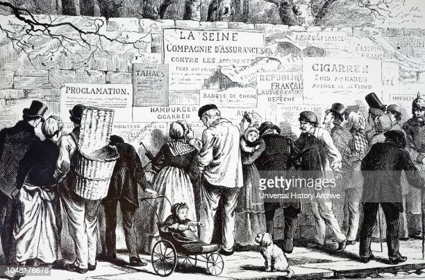 An engraving depicting a father reading notices while his child sits in a perambulation, during the Siege of Paris. Dated 19th century.