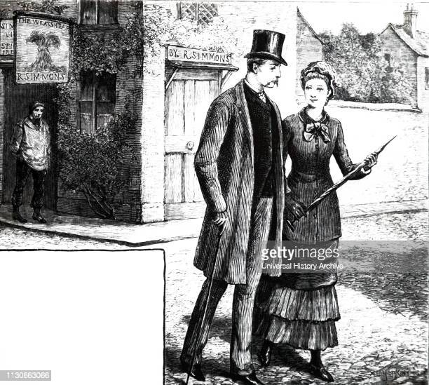 An engraving depicting a gentleman with a top hat and cane walking alongside his wife Dated 19th century