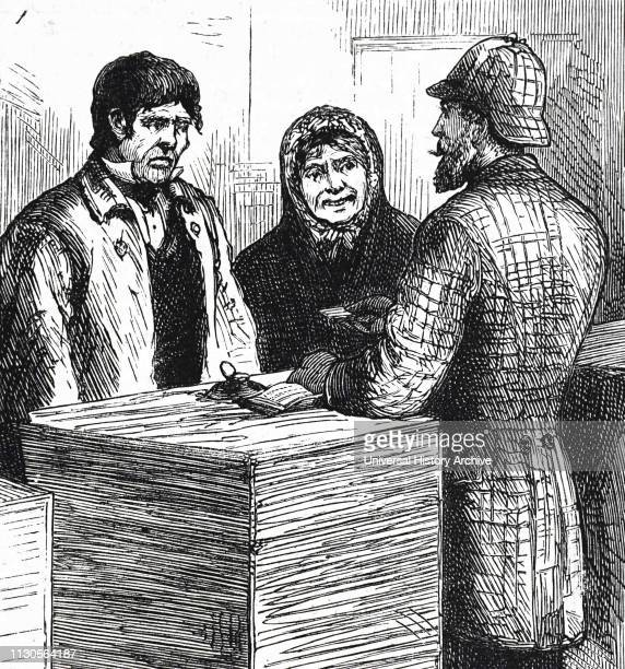 An engraving depicting a husband and wife applying for relief during the Irish Potato Famine. Dated 19th century.