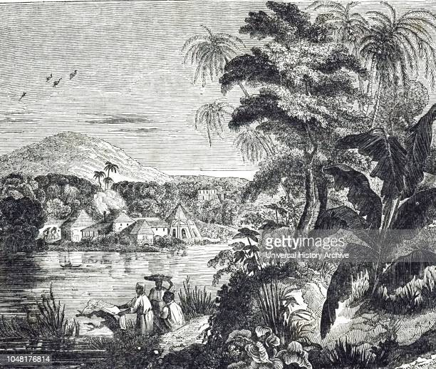 An engraving depicting a Jamaican sugarcane plantation during the sugar boom. African slaves harvested the sugar cane for their British owners. Dated...