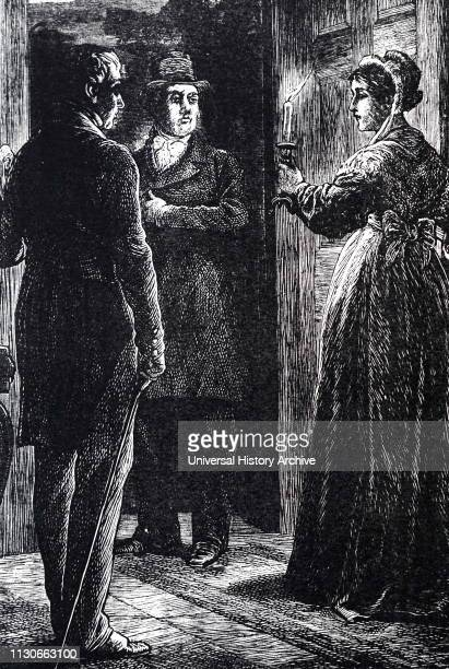 An engraving depicting a lady at an open door candlestick in hand Illustrated by John McL Ralston Dated 19th century