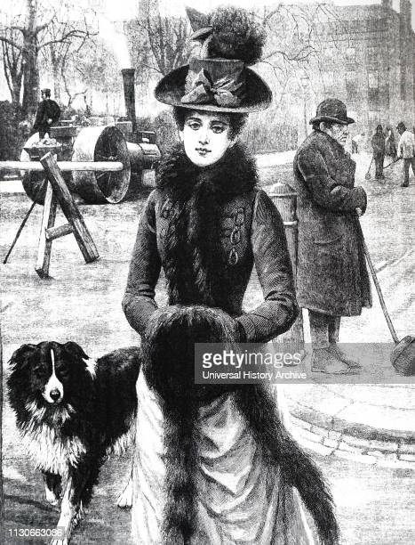 An engraving depicting a lady with a fur muff and collar walking through a London street on a frosty morning Dated 19th century