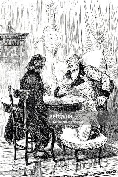 An engraving depicting a man suffering from gout. Dated 19th century.