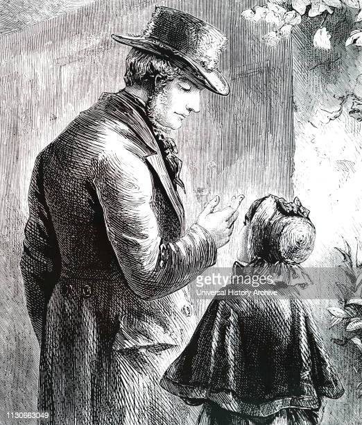 An engraving depicting a man wearing a beaver hat speaking with a little girl wearing a bonnet and shawl Dated 19th century