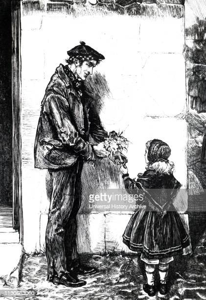 An engraving depicting a man wearing a beaver hat speaking with a little girl wearing a bonnet and shawl Illustrated by William Small a Scottish...