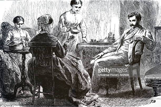 An engraving depicting a mother and one daughter sewing while another pours tea Dated 19th century