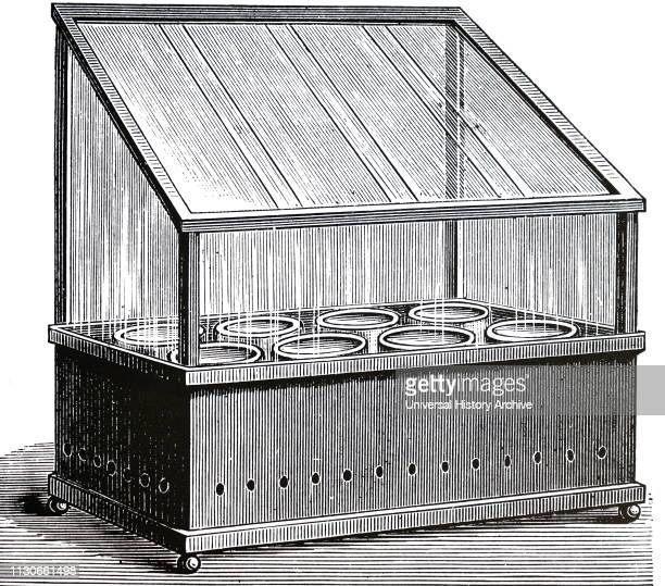 An engraving depicting a planetarium or miniature greenhouse with an opening glass lid for growing plants in a room Dated 19th century