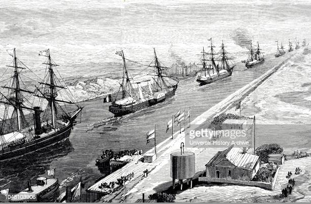 An engraving depicting a procession of ships passing through the Suez Canal during the opening celebrations - 16 November 1869. Dated 19th century.
