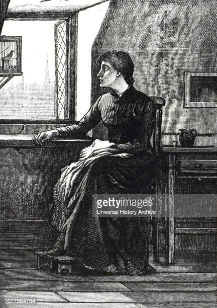 An engraving depicting a seamstress looking at her garret window onto smoky surroundings cheered only by the song of the linnet which being blind...