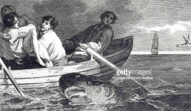 An engraving depicting a swimmer seeking refuge on a boat just in time to escape from a shark attack Dated 19th century