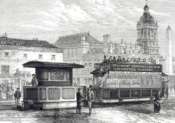 An engraving depicting a tram driven by Frederick Beaumont's compressed air engine, introduced on the Stratford to Epping Forest branch of the North...
