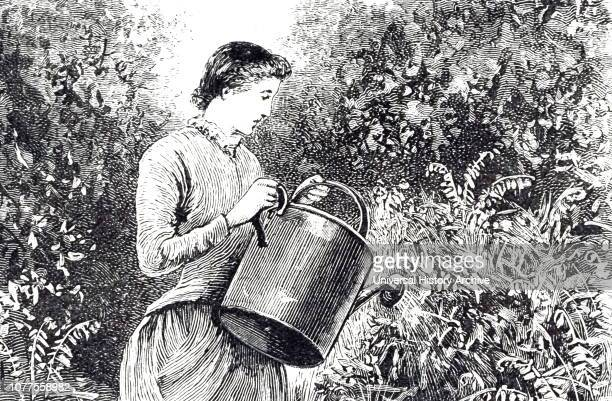 An engraving depicting a young lady watering plants in the garden Dated 19th century
