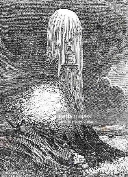 An engraving depicting an Eddystone lighthouse in a storm built by John Smeaton a British civil engineer Dated 19th century
