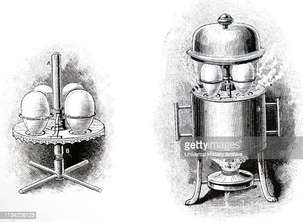 An engraving depicting an eggcooker by Mesdran of Paris Dated 19th century