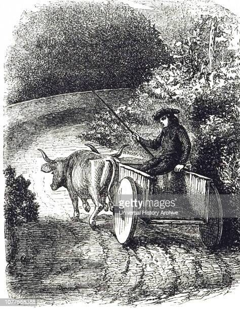 An engraving depicting an oxcart with solid wheels in Biscay Spain Dated 19th century