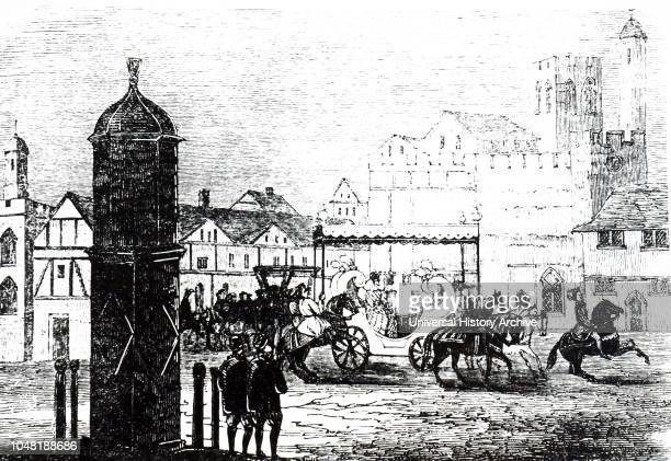 An engraving depicting Cornhill in the time of Elizabeth I showing the Queen travelling through in a coach Dated 19th century