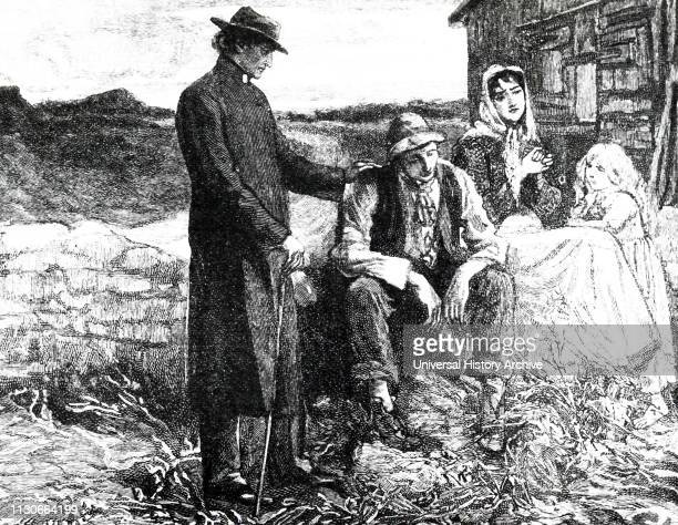An engraving depicting Father Mathew comforting a starving family during the Irish potato famine of the 1840's. Father Mathew worked unceasingly to...