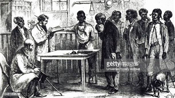 An engraving depicting freed men registering to vote in Macon Georgia during the first registration under army rule Dated 19th century