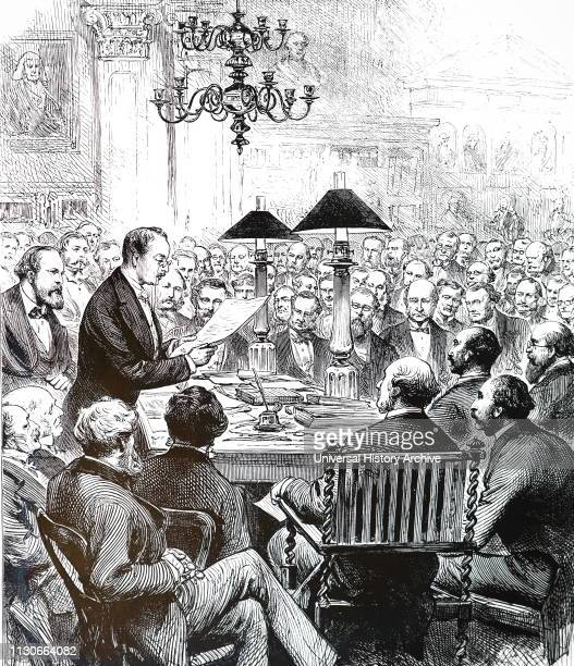 An engraving depicting Heinrich Schliemann an Austrian archaeologist lecturing to the Society of Antiquaries in their rooms at Burlington House...