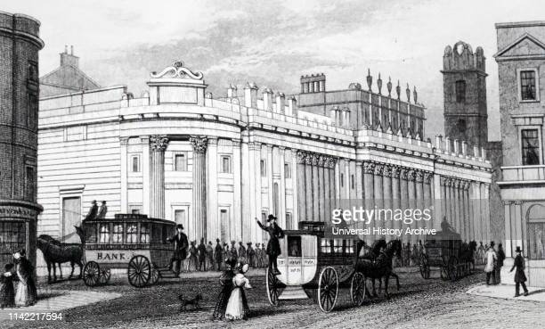 An engraving depicting horse buses by the Bank of England Dated 19th century
