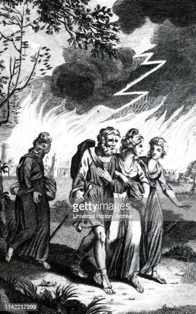 An engraving depicting Lot fleeing from Sodom and Gomorrah when an earthquake circa BC 1900 destroyed them In the background is Lot's wife turned to...