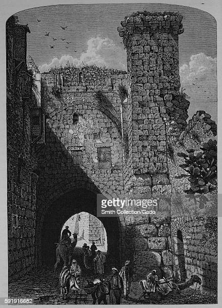 An engraving depicting people congregating and traveling through a stone archway at the Antonia Fortress it was built as a military barracks and...