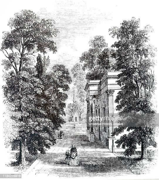 An engraving depicting Royal Old Well Walk Cheltenham England This avenue of Elms was planted in 1739 Universal History Archive/Universal Images...