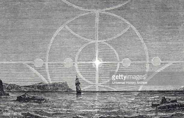 An engraving depicting sun dogs and solar rainbows A sun dog is an atmospheric optical phenomenon that consists of a bright spot to the left or right...
