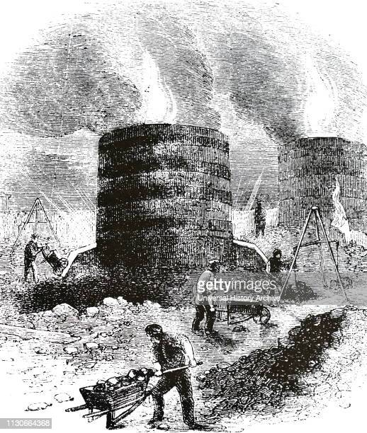 An engraving depicting the blast furnaces at Coalbrookdale Shropshire Dated 19th century