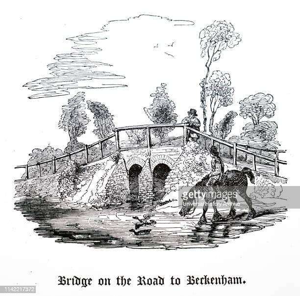 An engraving depicting the bridge between Penge and Beckenham, Kent. Dated 19th century.