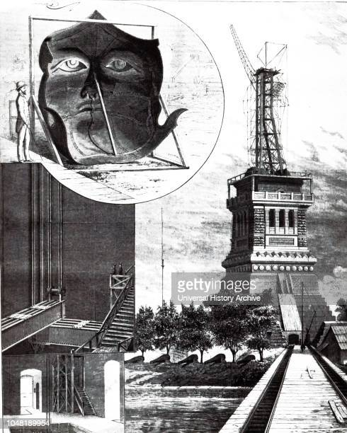 An engraving depicting the construction of the Statue Of Liberty in New York, designed by French sculptor Frederic Auguste Bartholdi and built by...