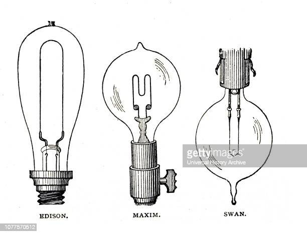 An engraving depicting the different forms of carbon filament in incandescent lamps Dated 19th century
