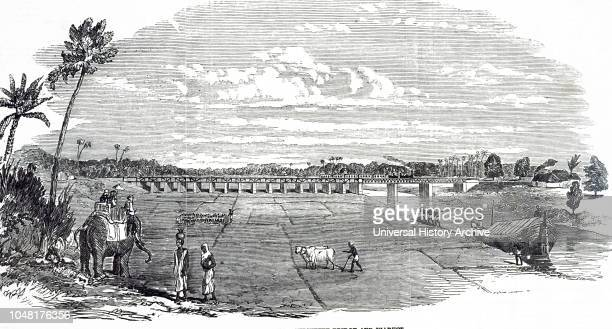 An engraving depicting the East Indian Railway line with a train