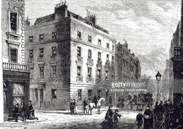 An engraving depicting the exterior of Long's Hotel Bond Street London Dated 19th century