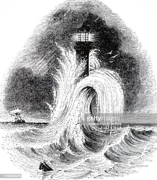 An engraving depicting the fourth Eddystone lighthouse built by John Smeaton a British civil engineer Dated 19th century