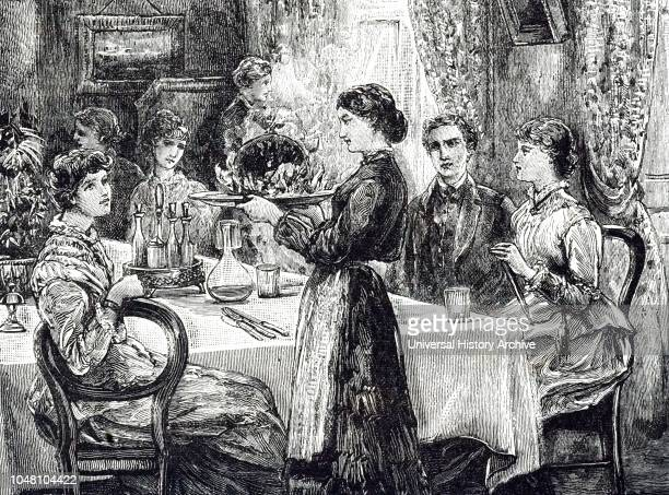 An engraving depicting the maid bringing in the Christmas pudding. Illustrated by Davidson Knowles a British landscape painter. Dated 19th century.
