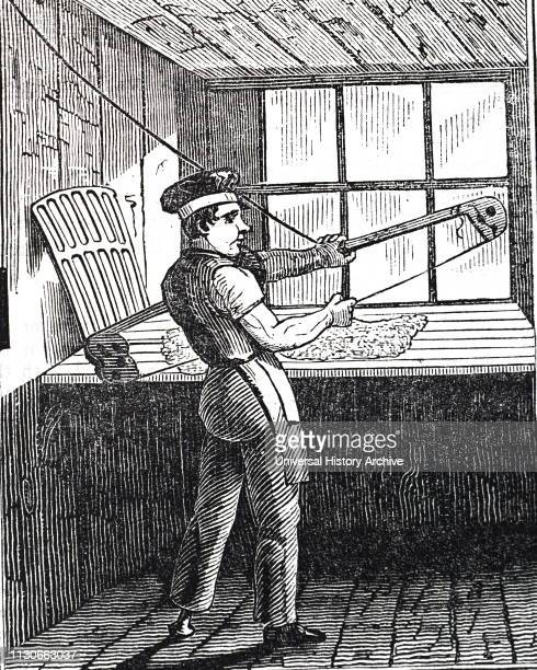 An engraving depicting the manufacturing of beaver hats: bowing fur and wool used to make the hats. Dated 19th century.