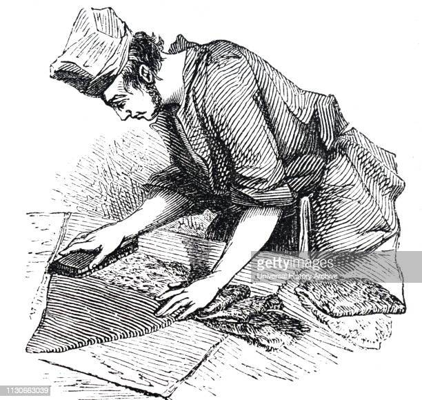 An engraving depicting the manufacturing of beaver hats: 'felting' the body of the hats in the 'kettle'. Mercury was used during the manufacture, and...