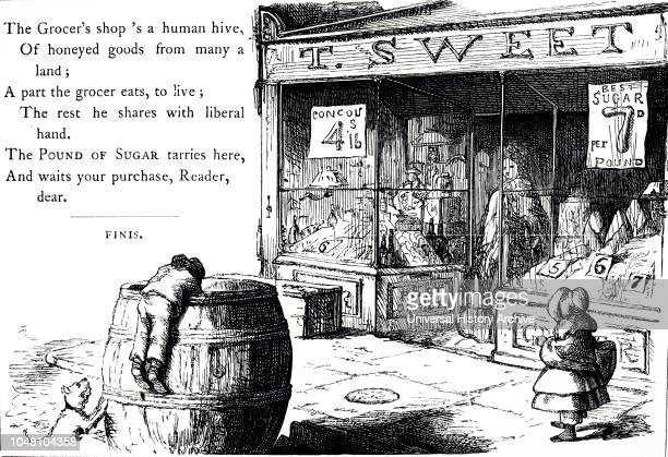 An engraving depicting the outside of a Grocer's Shop Dated 19th century