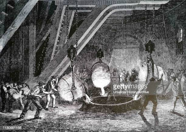 An engraving depicting the process of casting the cylinders for the hydraulic lifting gear used to raise the prefabricated sections of the Britannia...